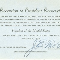 Invitation to opening ceremony for the Grand Coulee Dam.